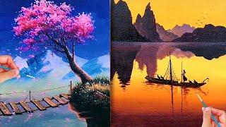 Vẽ hoa đào và phong cảnh rất đẹp💘 Nghệ thuật vẽ tranh đỉnh cao của họa sĩ Trung Quốc#34 💘Art Drawing